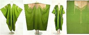 Spectacular Acid Green Silk Ottoman Aba