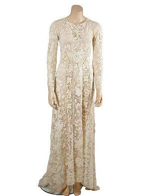 Irish White Crochet Lace Wedding Dress