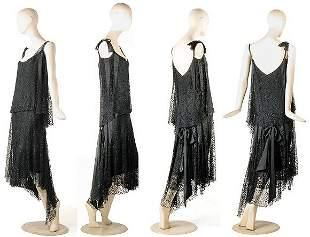 Exquisite Chanel Black Silk Lace Evening Dress
