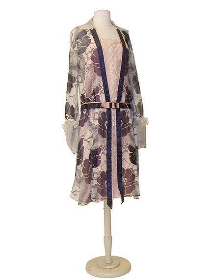 2017: Navy and Ecru Floral Print Tea Dress