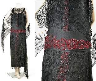 Black Silk Lace and Faux Garnet Evening Dress