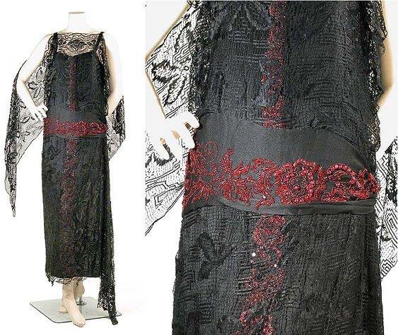 2019: Black Silk Lace and Faux Garnet Evening Dress