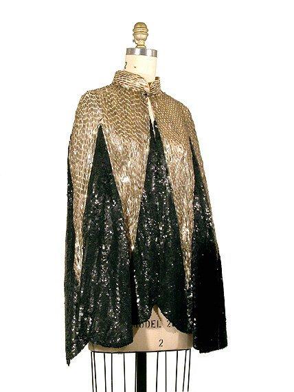 2022: Silver and Black Sequin Art Deco Evening Cape