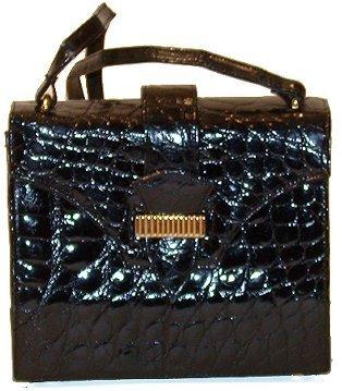 2295: Kleinberg Sherrill Black Alligator Handbag