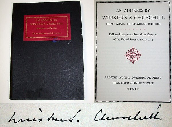 4007: CHURCHILL, WINSTON S. An address . . . Delivered