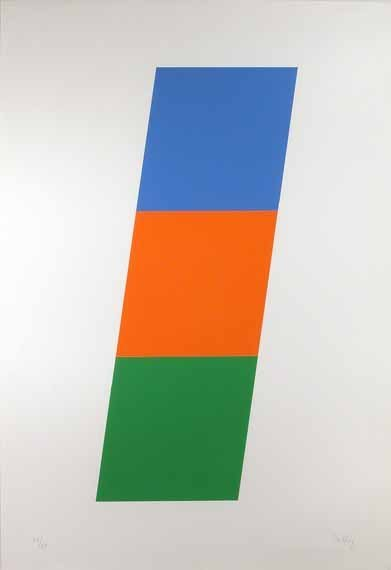4197: Ellsworth Kelly BLUE/RED-ORANGE/GREEN  Color lith