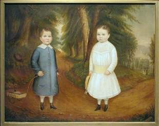Attributed to Harlan Luther Lent TWO CHILDREN IN