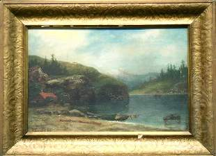 Attributed to Peter Lund LANDSCAPE WITH LAKE