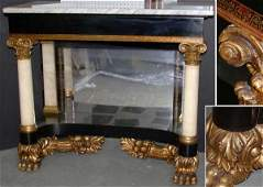 3074A: Classical Ebonized and Gilt-Decorated Pier Table