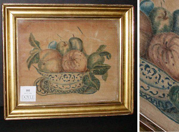 3181: Watercolor on Velvet Theorem Painting  19th Centu
