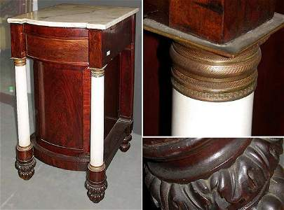 3220: Pair of Classical Marble Top Mahogany Consoles