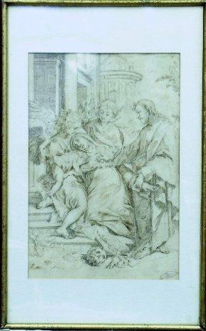 6007: Venetian School 18th Century SAINT THERESA RECEIV