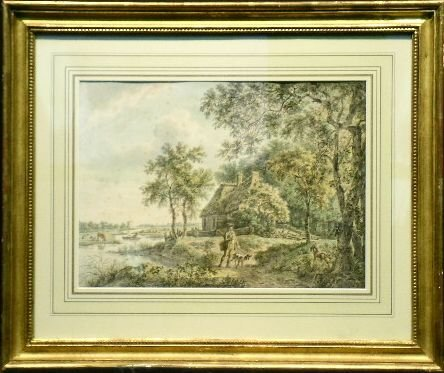 6016: Dutch School 18th/19th Century BIRD HUNTING BY A