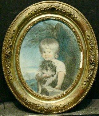 6017: British School 19th Century BOY WITH DOG Pastel o