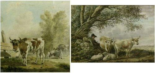 6020: Dutch School 18th Century COWS IN LANDSCAPE