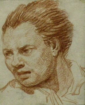 6022: Circle of Jean-Baptiste Greuze HEAD OF A MAN Red