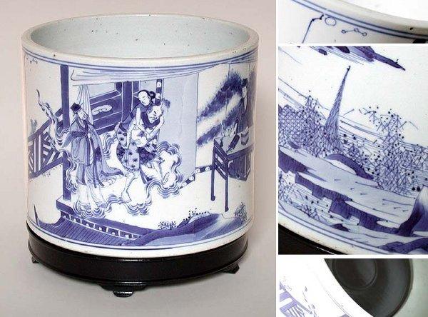 6230: Chinese Blue and White Porcelain Brush Pot