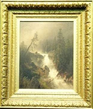 Herman Herzog 1832-1932 CASCADE WITH FISHERMAN