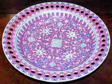 1181: Chinese Ruby Red Ground Famille Rose Porcelain Di