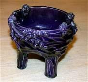 1185: Chinese Aubergine Glazed Porcelain Tripod Censer