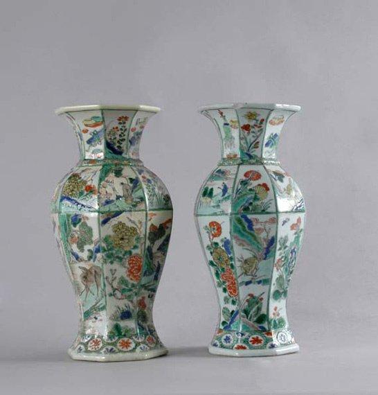 1196: Pair of Famille Verte Porcelain Vases