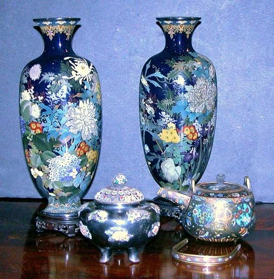 1235: Group of Four Japanese Enamel Items