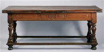 1271 Continental Baroque Walnut Refectory Table