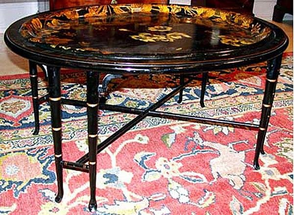 1464: Early Victorian Painted and Gilt Decorated Black