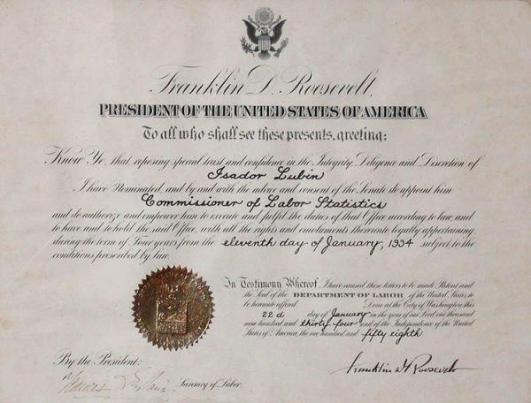 2013: ROOSEVELT, FRANKLIN DELANO Document signed as Pre