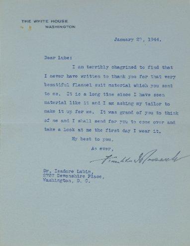 2014: ROOSEVELT, FRANKLIN DELANO Typed letter signed, o