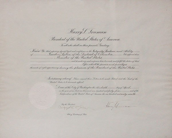 2018: TRUMAN, HARRY S. Document signed as President, on
