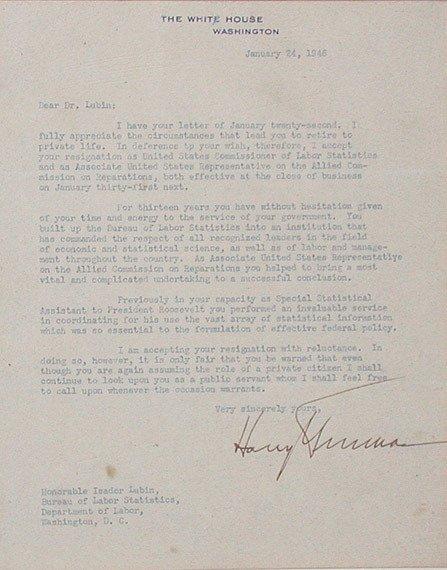 2019: TRUMAN, HARRY S. Letter signed