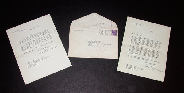 2020: TRUMAN, HARRY S. Letter signed, one page, 8vo, wi
