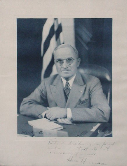 2021: TRUMAN, HARRY S. Photograph inscribed in margin a