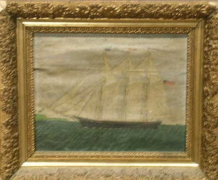 3008: American School 19th Century CLIPPER SHIP AT FULL