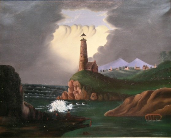 3013: American School 19th Century LIGHTHOUSE SCENE