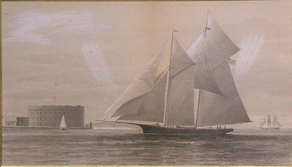 3017: J.W. Holmes American, 19th century BOATS ALONGSID