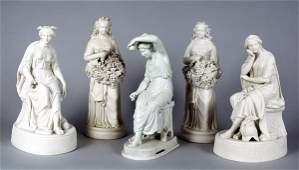 3156 Pair of Parian Porcelain Classical Female Figures