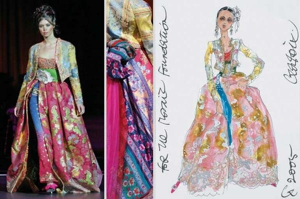5: Lacroix Couture Bejeweled Silk Damask Ensemble