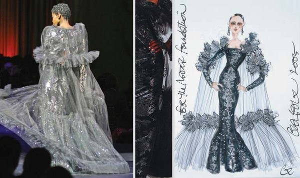 6: Lacroix Couture Black Metallic Gown and Tulle Coat