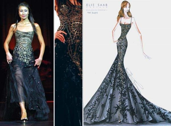 9: Elie Saab Black Lace and Tulle Embroidered Gown