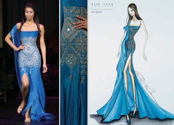 10: Elie Saab Peacock Blue Embroidered Gown