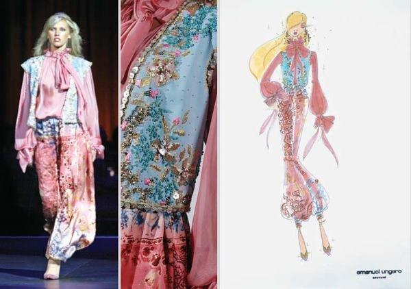 11: Ungaro Couture Silk Embroidered Harem Ensemble
