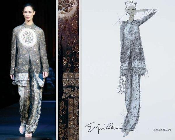 15: Armani Charcoal and Beige Embroidered Pant Suit