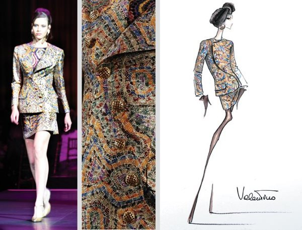 21: Valentino Couture Silk Gold Lame Brocade Suit