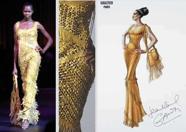 23: Jean Paul Gaultier Perforated Leather Gown and Bag