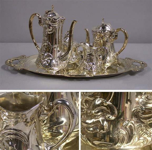 3315: WMF Art Nouveau Silver Plated Tea and Coffee Serv