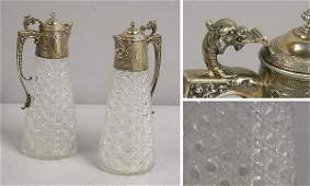 3333: Pair of Victorian Sterling Mounted Cut Glass Ewer