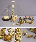 3370 Group of Chinese Japanese and African Ivory and