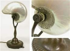 3451V: Tiffany Studios Bronze and Nautilus Shell Desk L